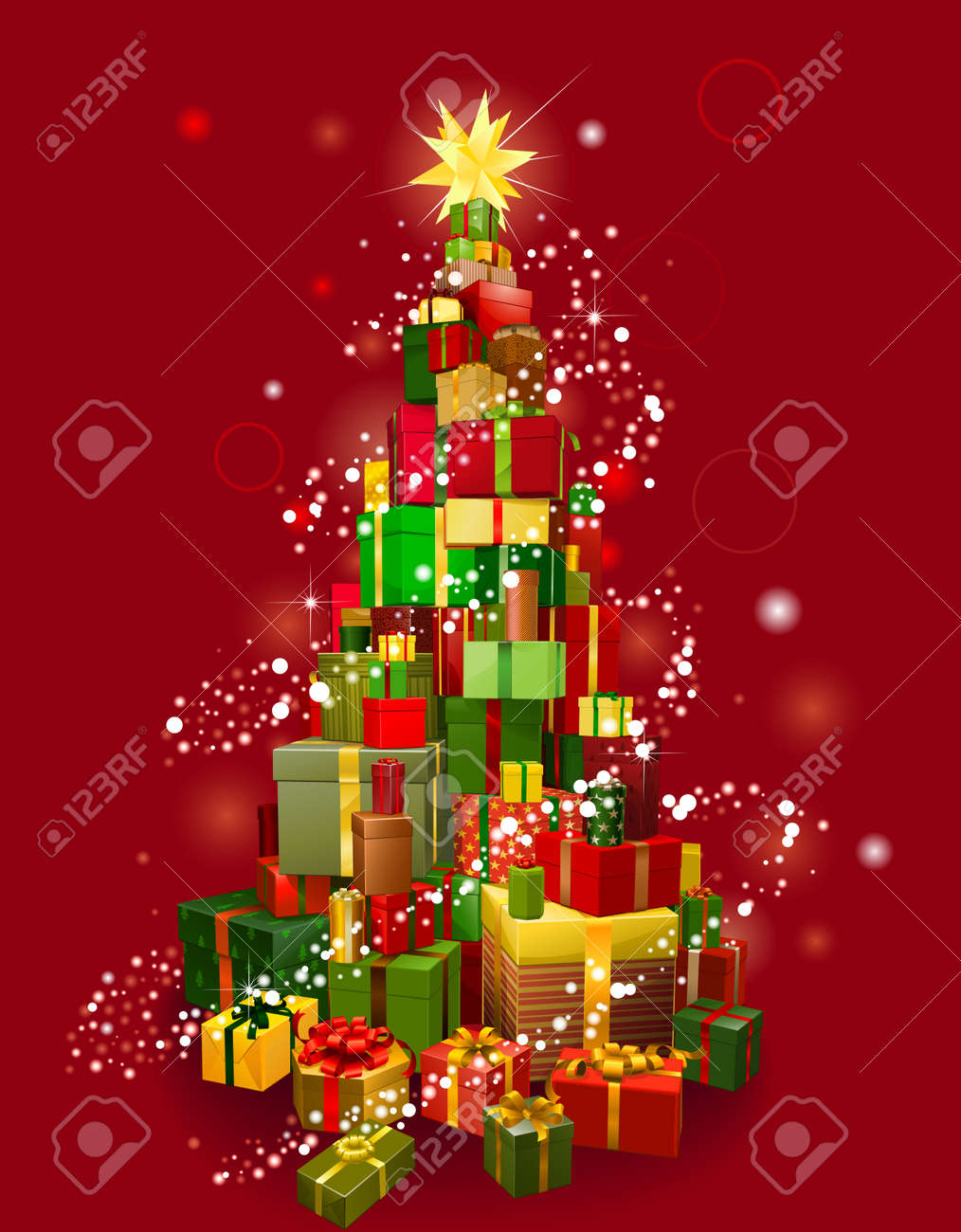 Stack Of Gifts In The Shape Of A Christmas Tree With Lights And Red  Background Stock
