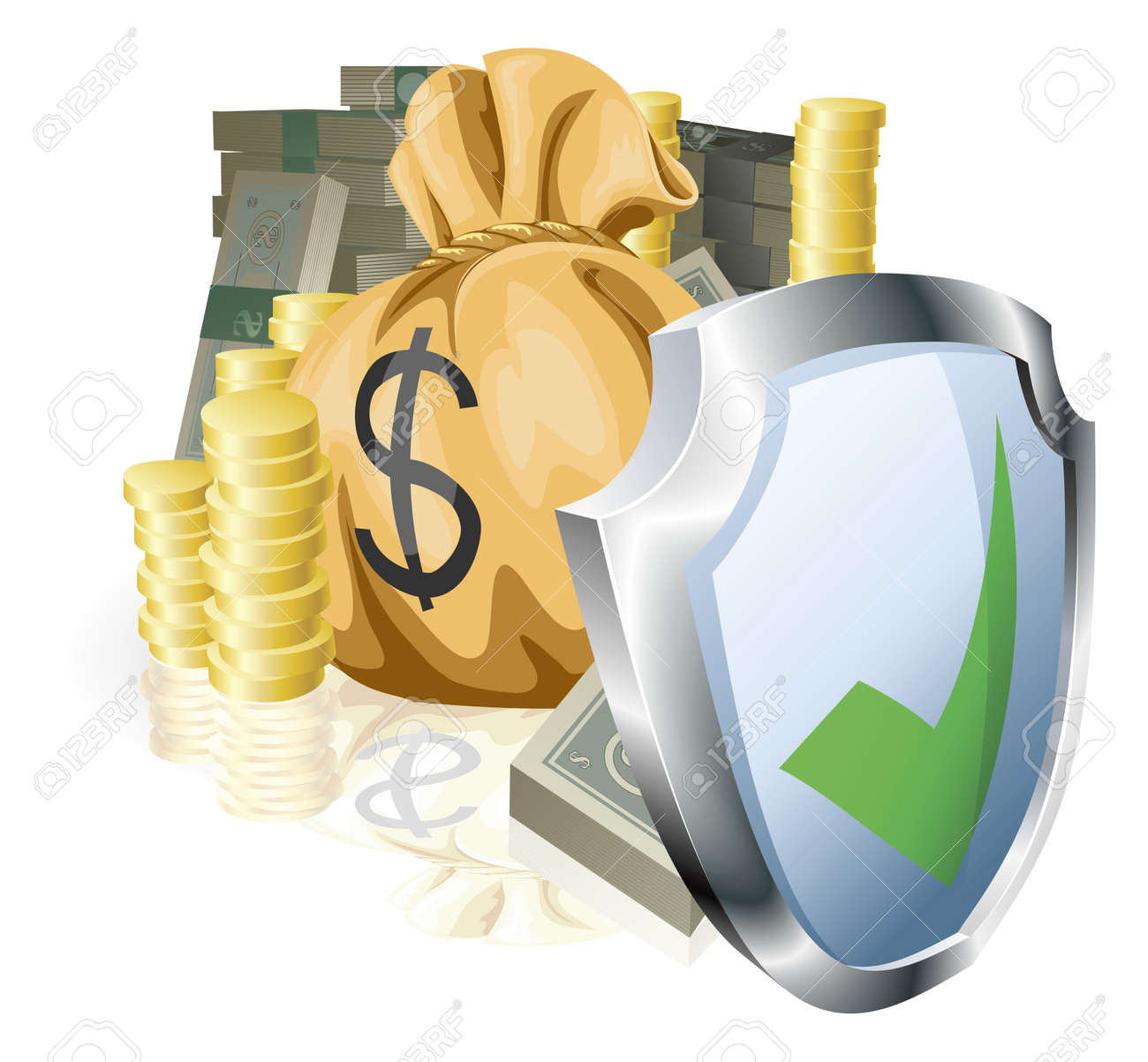 Stacks Of Money Being Protected By A Indicating It Is Secure.. Royalty Free Cliparts, Vectors, And Stock Illustration. Image 11070816.