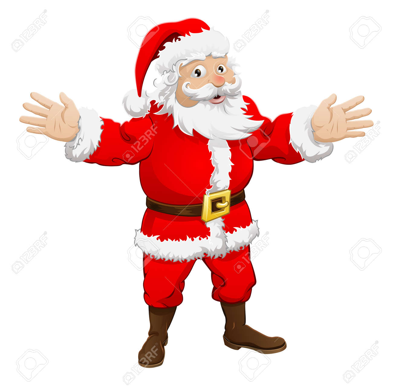 An Illustration Of A Happy Christmas Santa Claus