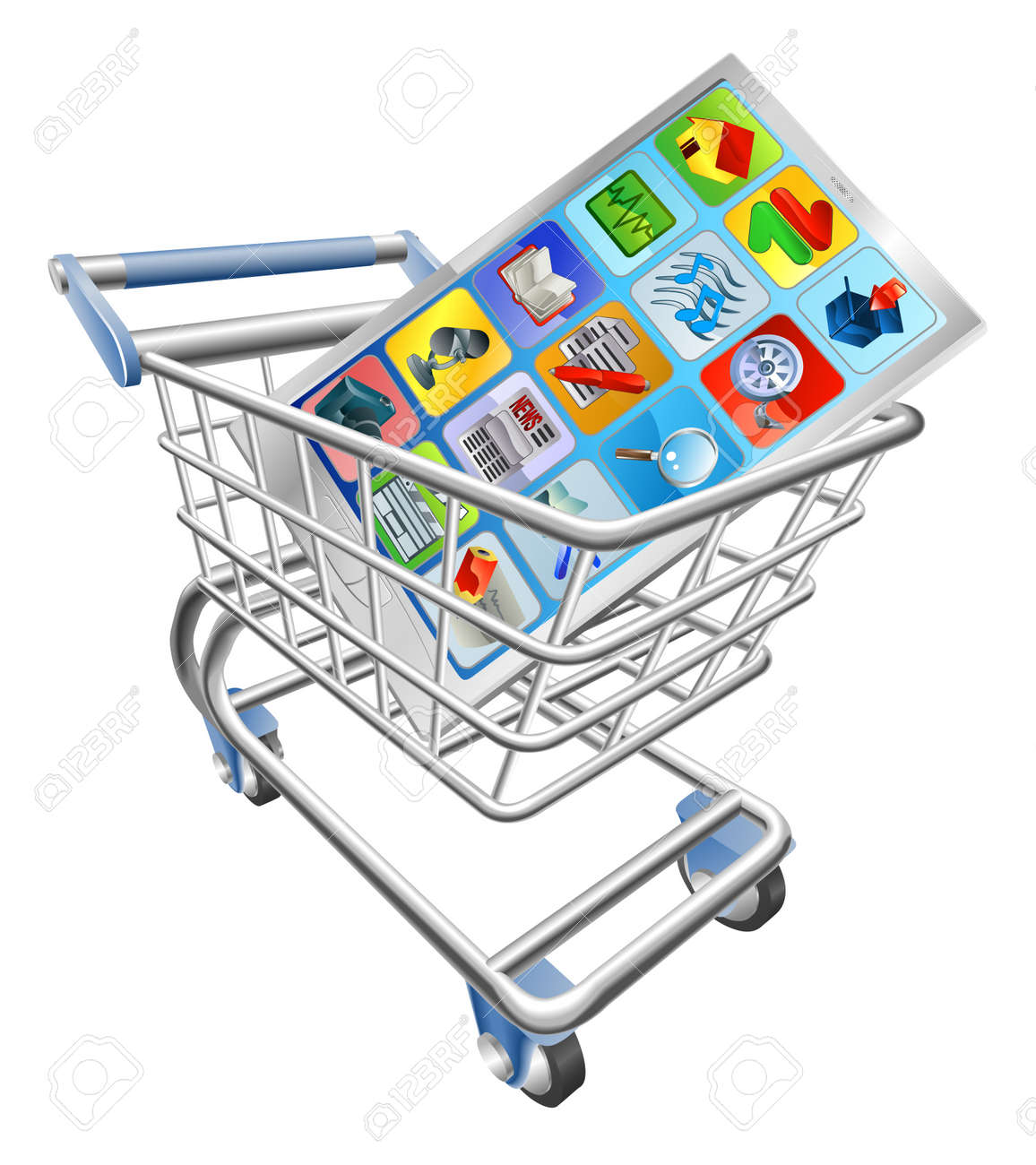 An illustration of a smart mobile phone or tablet PC in shopping cart trolley Stock Vector - 11383889