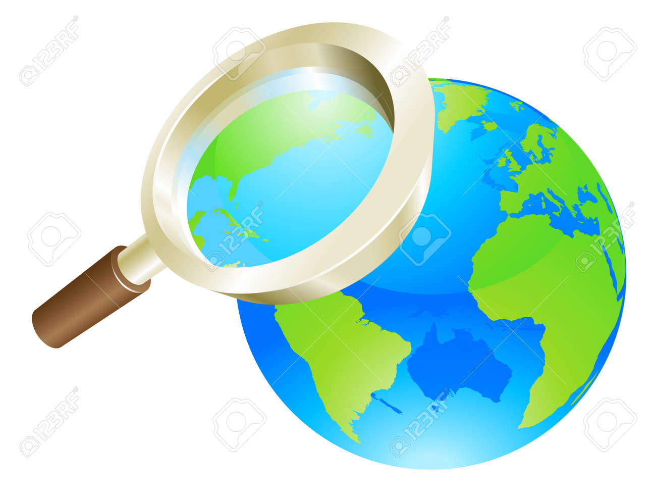 Magnifying glass zooming on world earth globe concept illustration Stock Vector - 11586603