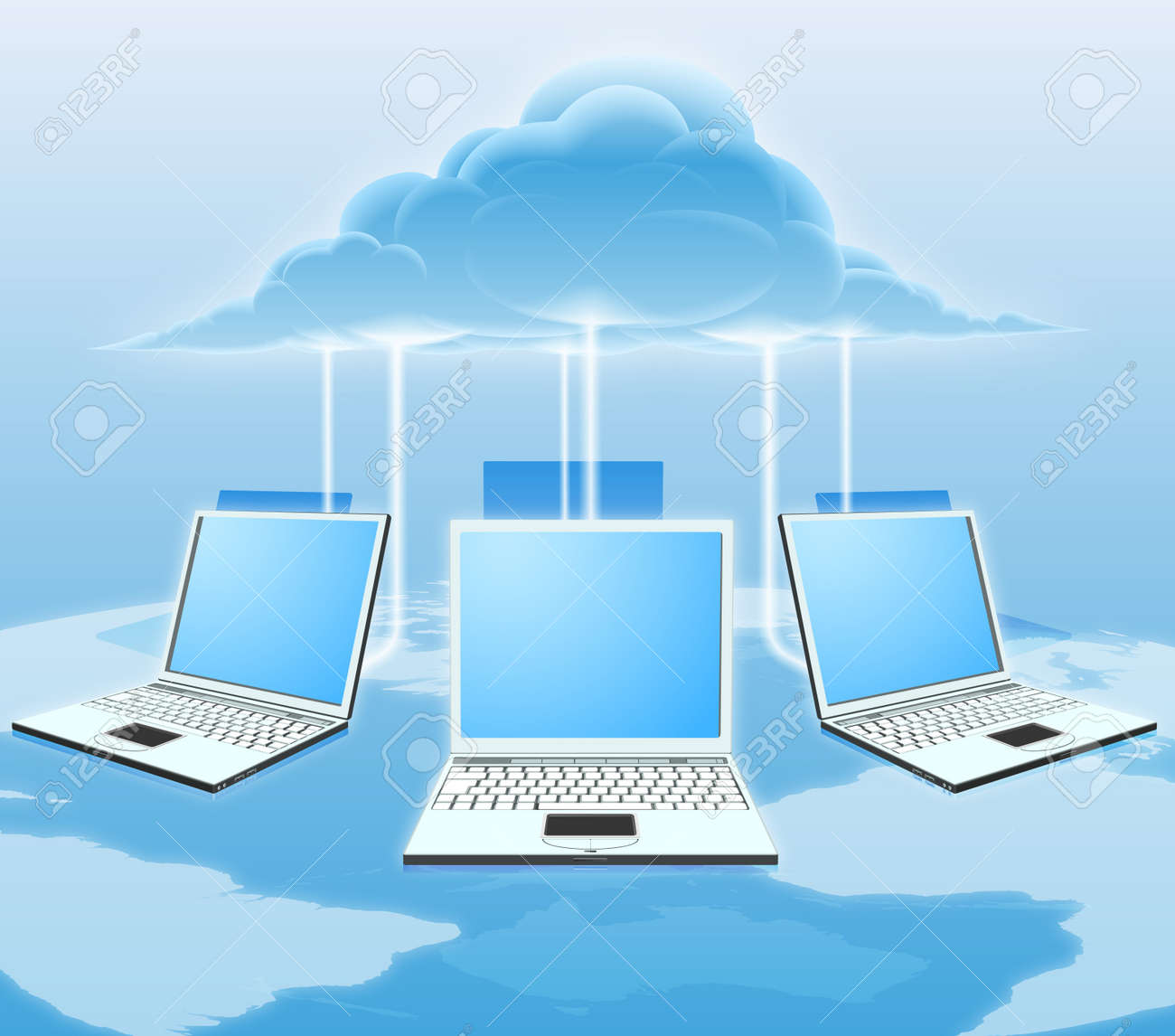 A conceptual cloud computing illustration. Laptops connected to the cloud with a world map in the background. - 11863156
