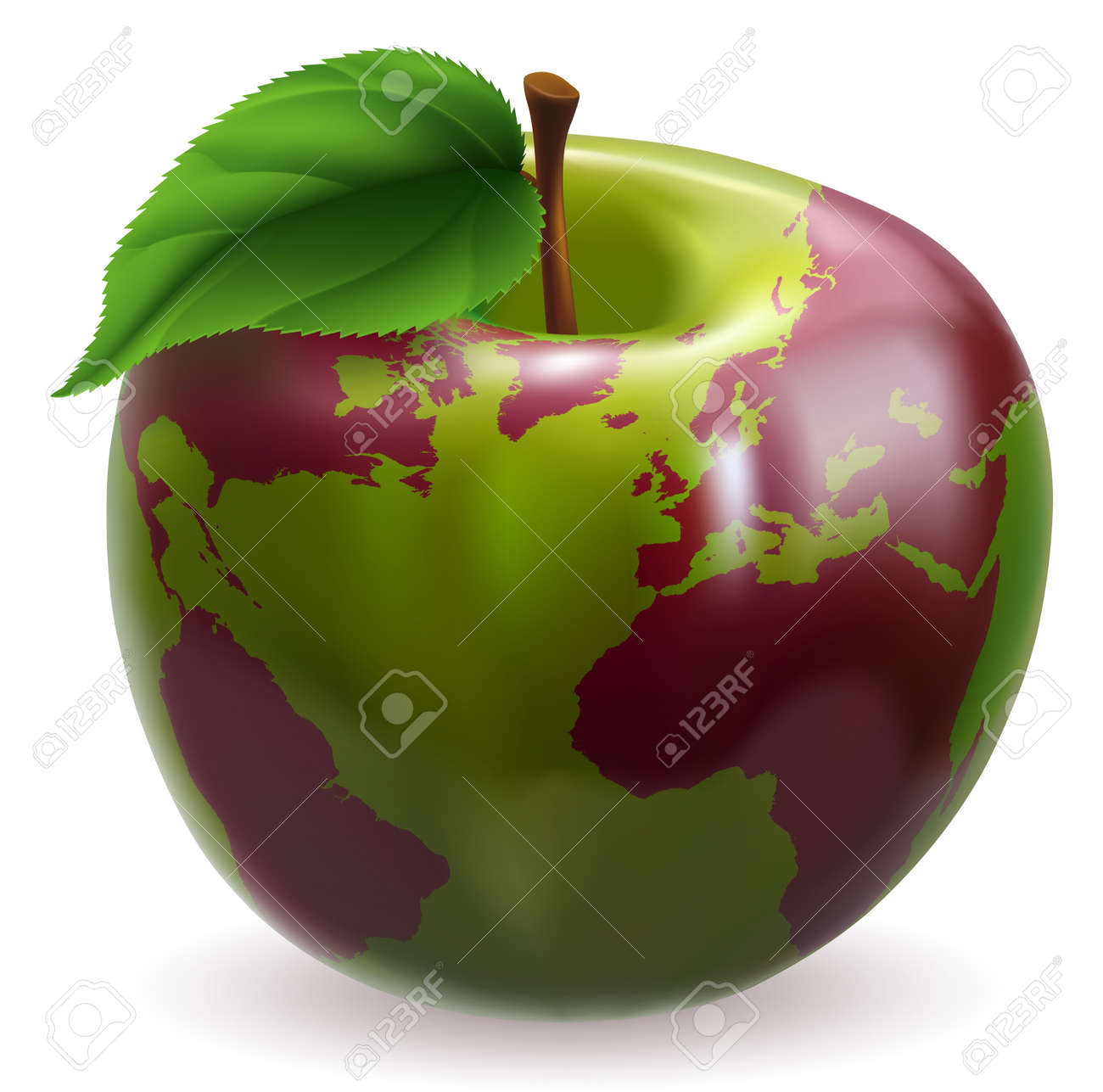 Conceptual illustration of an apple with color on skin forming the world globe Stock Vector - 11912836