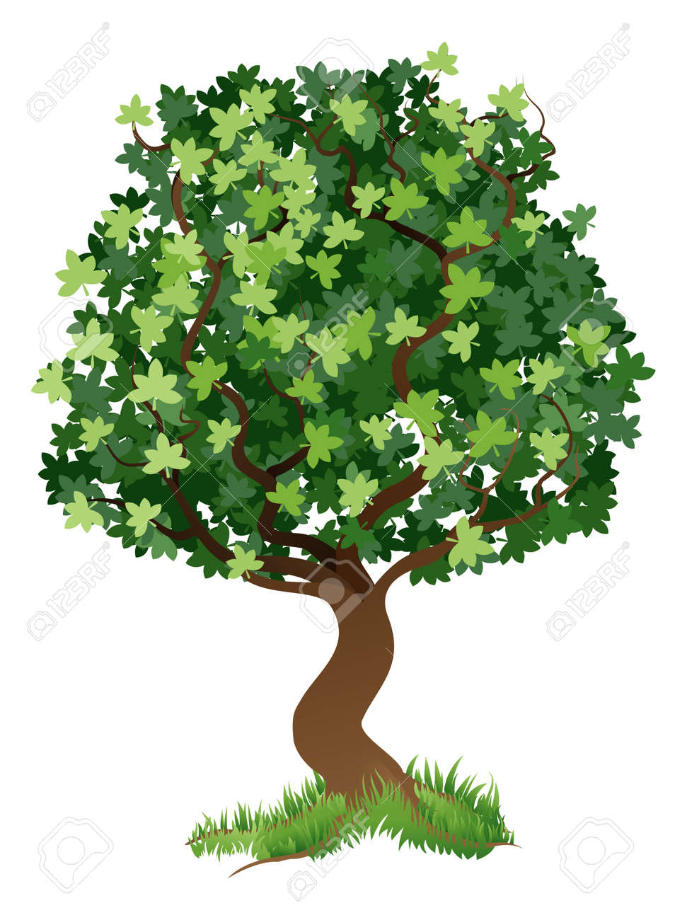 An illustration of a stylised tree with grass around its roots Stock Vector - 11964335
