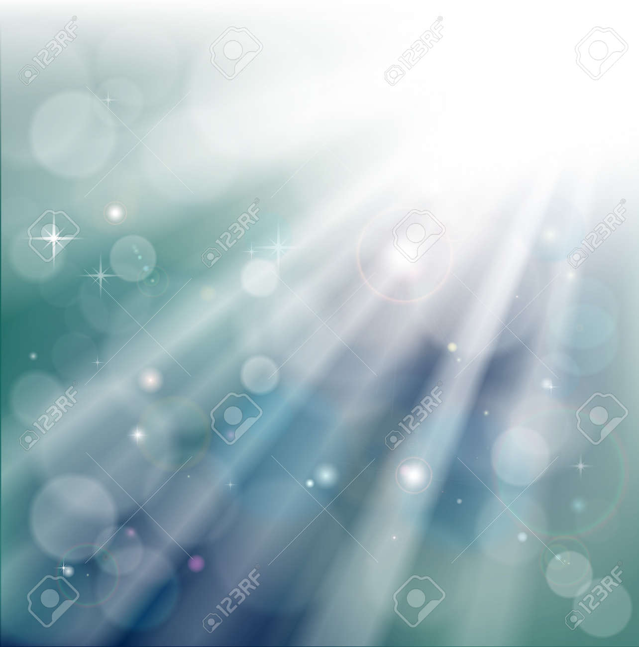 A light rays background with  bokeh effect and glowing star particles Stock Vector - 12063501