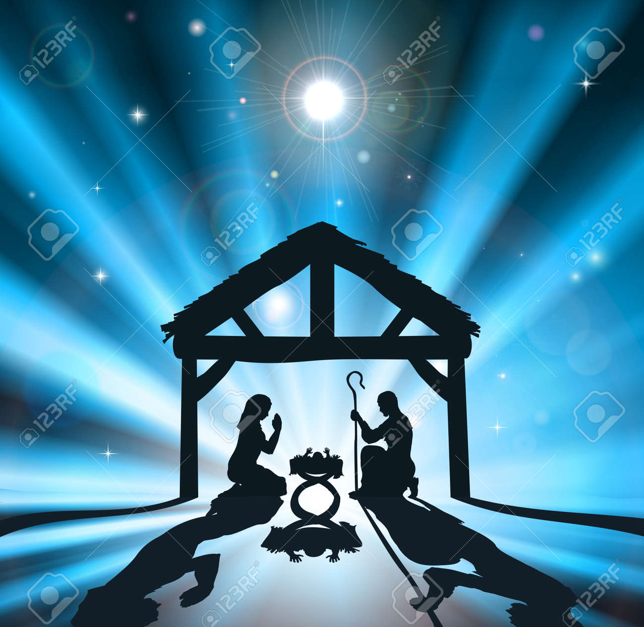 Christian Christmas nativity scene of baby Jesus in the manger with the virgin Mary and Joseph Stock Vector - 12346898