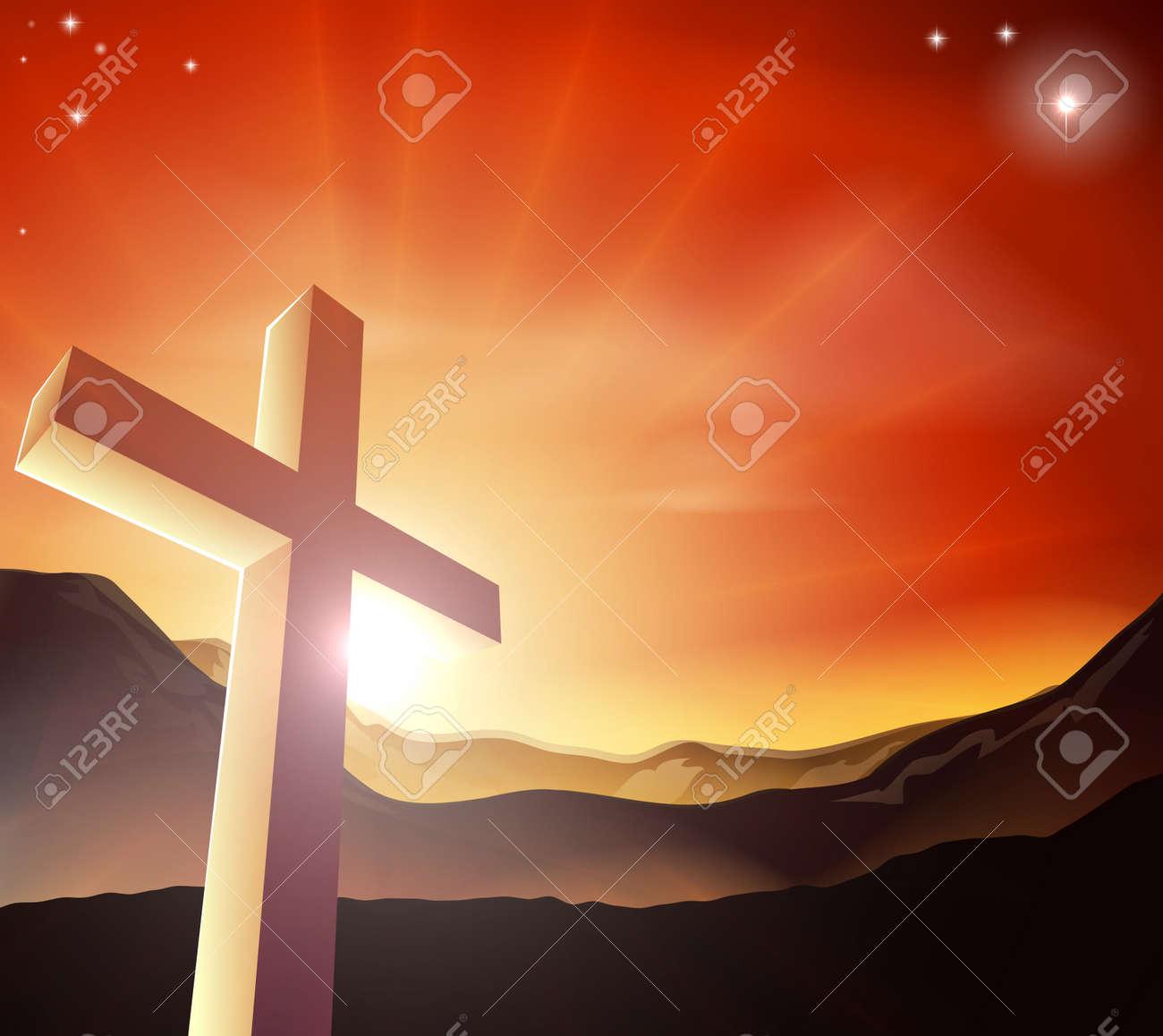 sun rising behind the cross over a mountain range resurrection