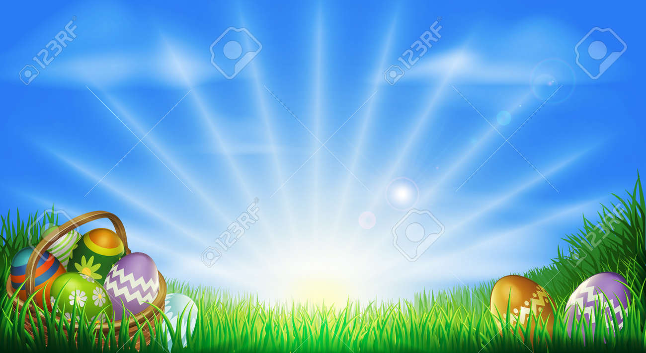 Easter background with decorated Easter eggs and Easter eggs in basket in a sunny field - 12347218