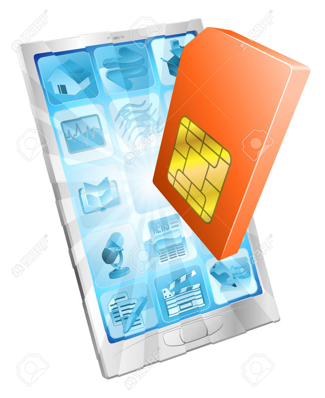 Phone SIM card icon coming out of screen concept Stock Vector - 12347272