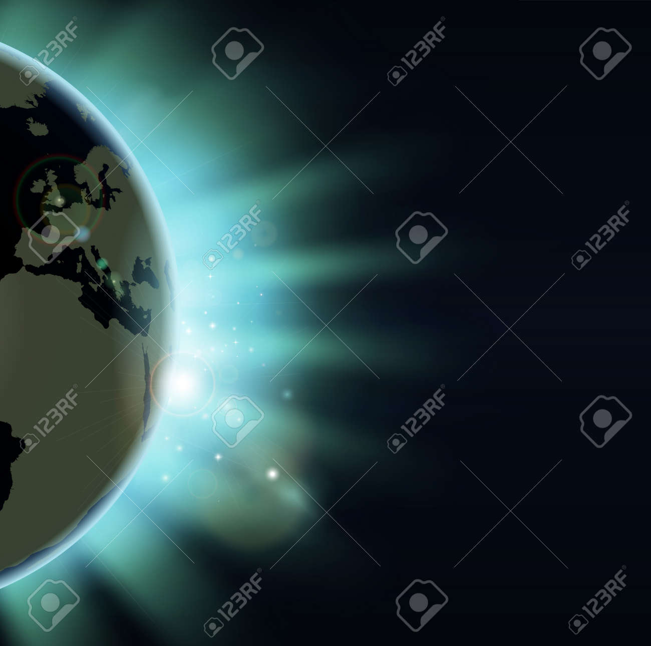 Sun rising over the world globe. Europe and Africa showing. Stock Vector - 12347312