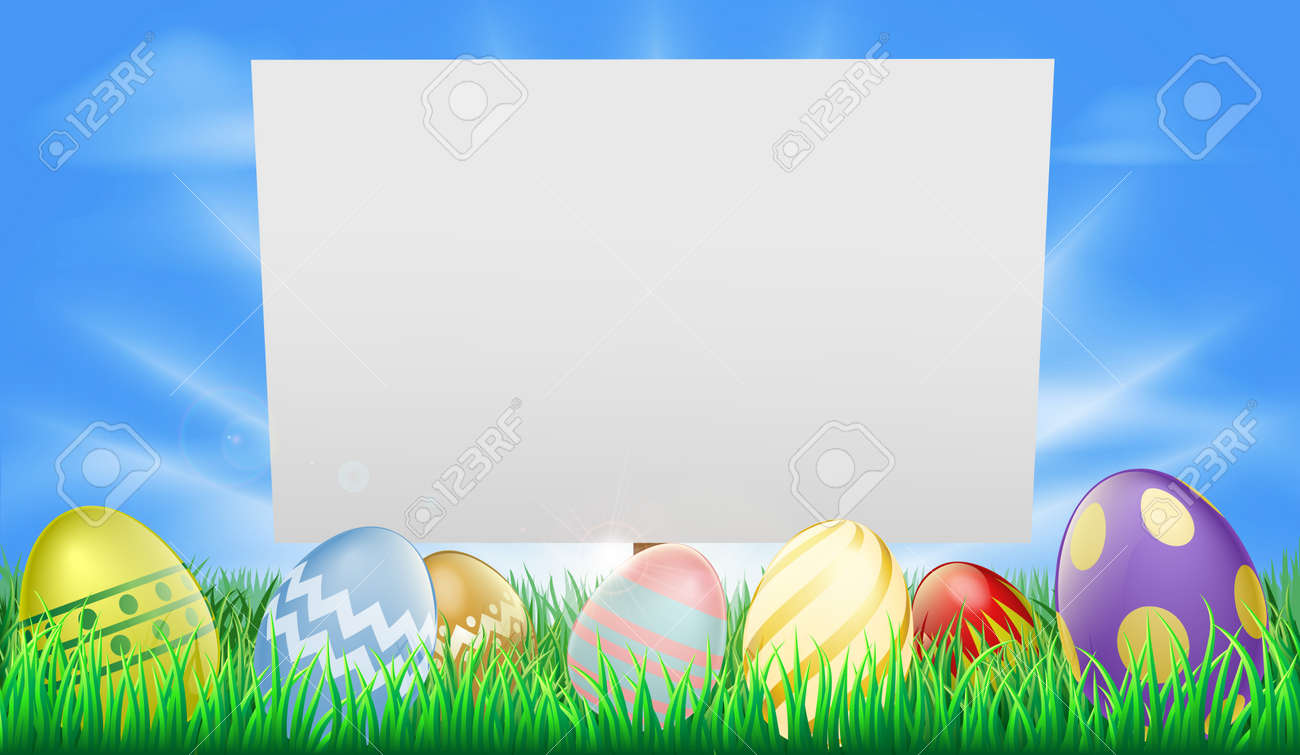 Easter sign illustration in meadow with sun rays and decorated Easter eggs Stock Vector - 12489320