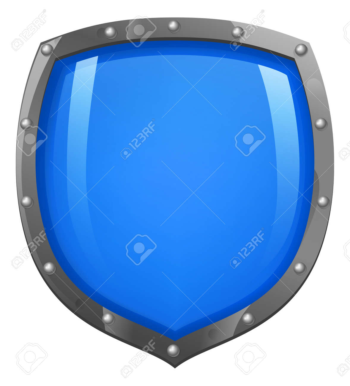 A glossy, shiny blue shield illustration  Concept for defence or security Stock Vector - 12492836