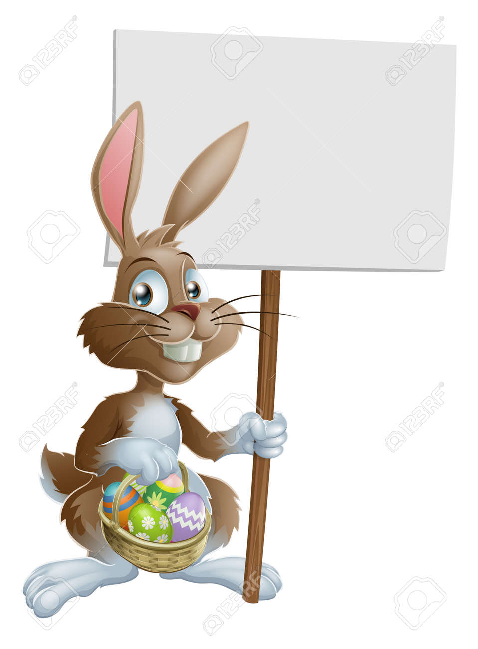 Easter Bunny Rabbit Holding A Basket Of Easter Eggs And A Sign Stock Vector  12808871