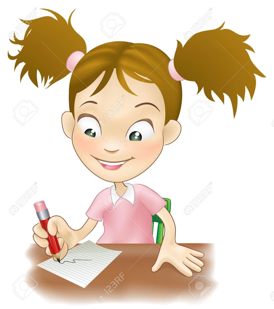 かわいい若い女の子のイラストは紙に書く彼女の机に座っていたの