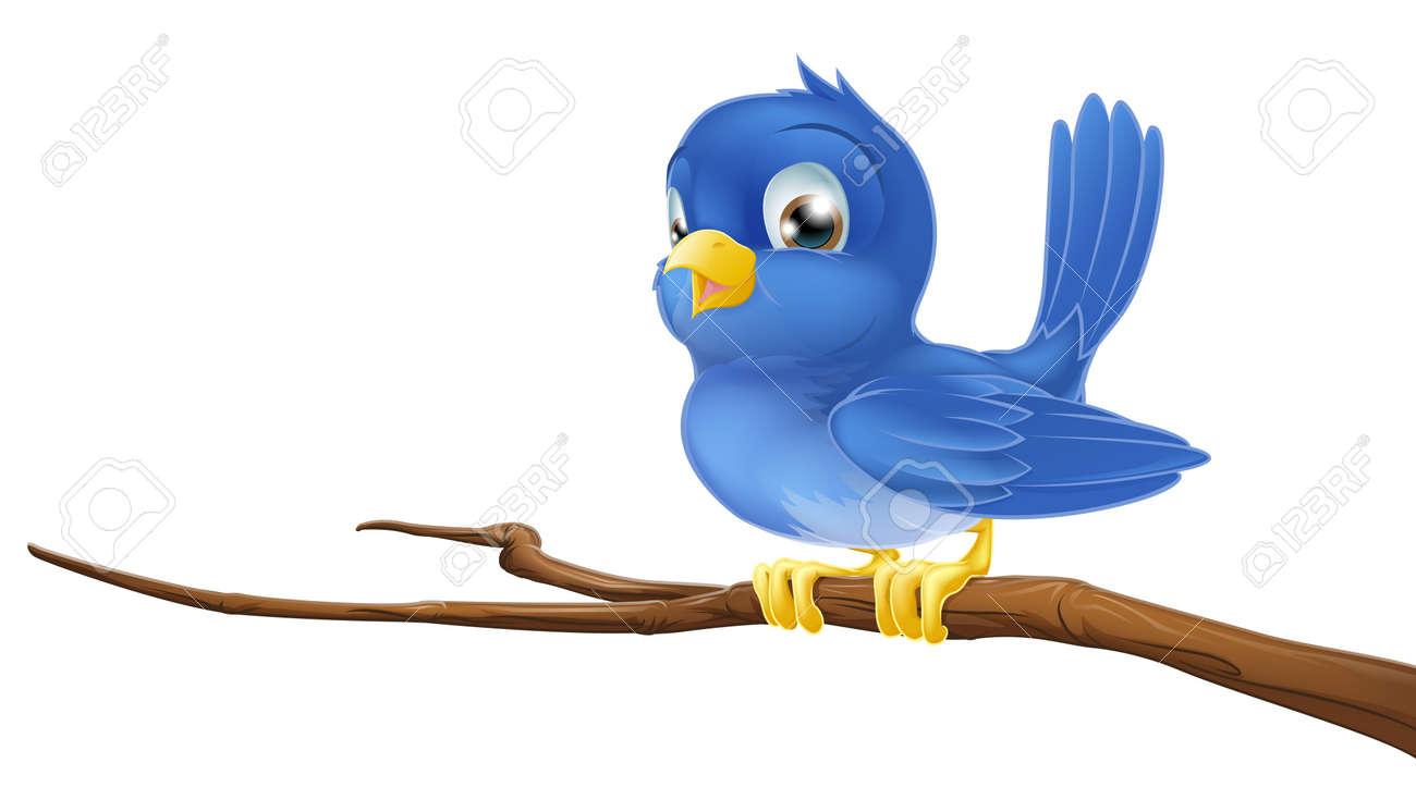 Un Personnage De Bande Dessinee Oiseau Bleu Assis Sur Une Branche
