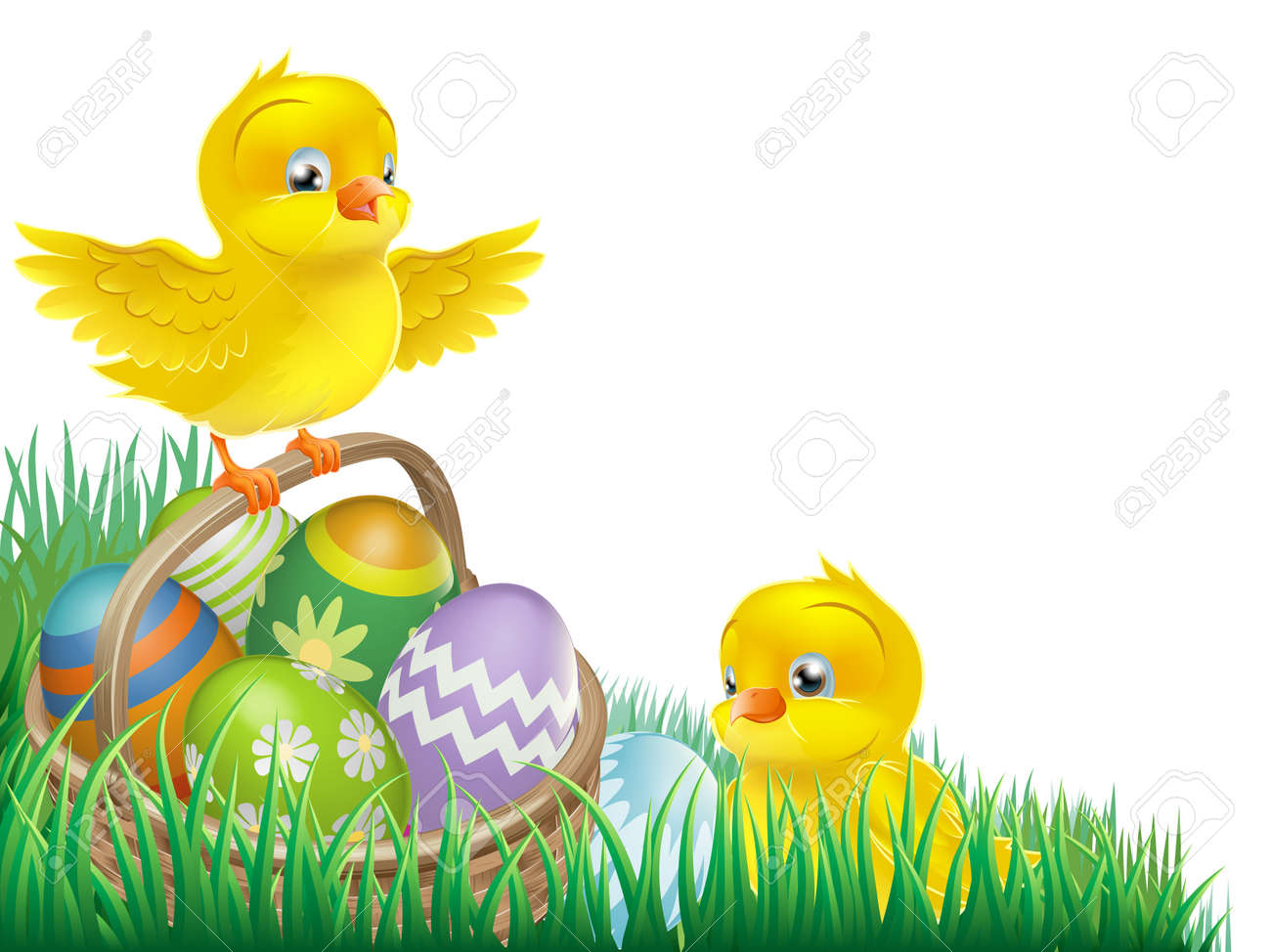 An Easter Chicks And Egg Basket Isolated Corner Design Element Stock Vector