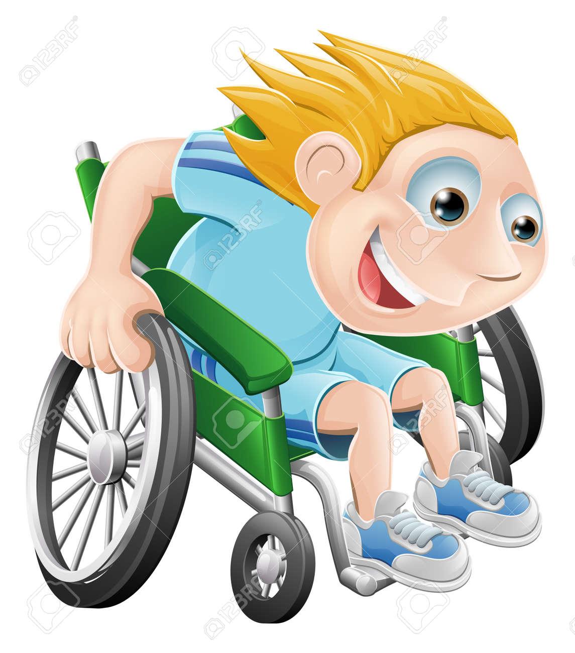 Cartoon illustration of a happy boy racing in his wheelchair Stock Vector - 12985683