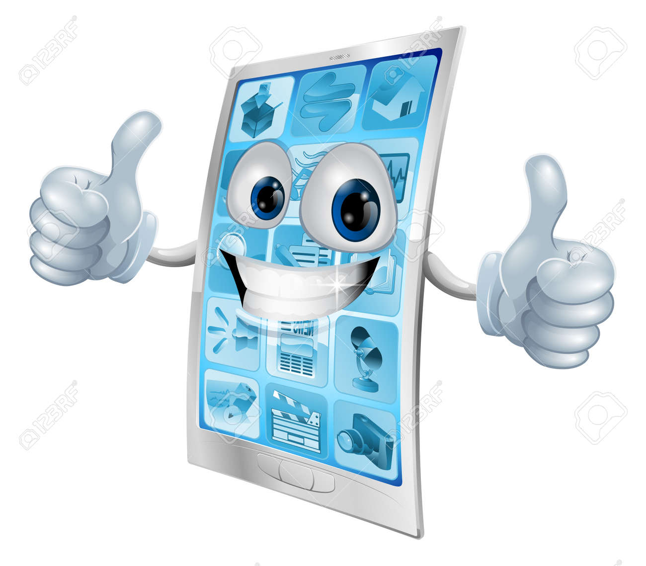 Illustration of a mobile phone mascot character doing a double thumbs up gesture - 12985698