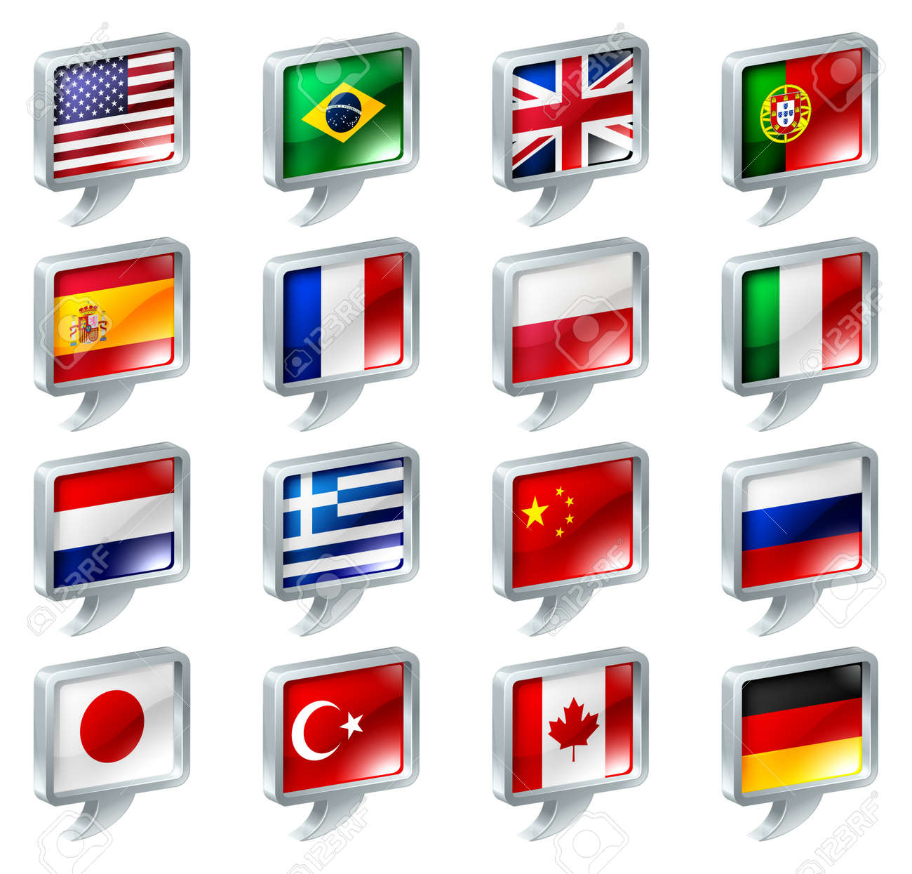 Set of flag speech bubble icons buttons; great for anything related to languages; regions or translation; or country specific web forum sections. Stock Vector - 13120143