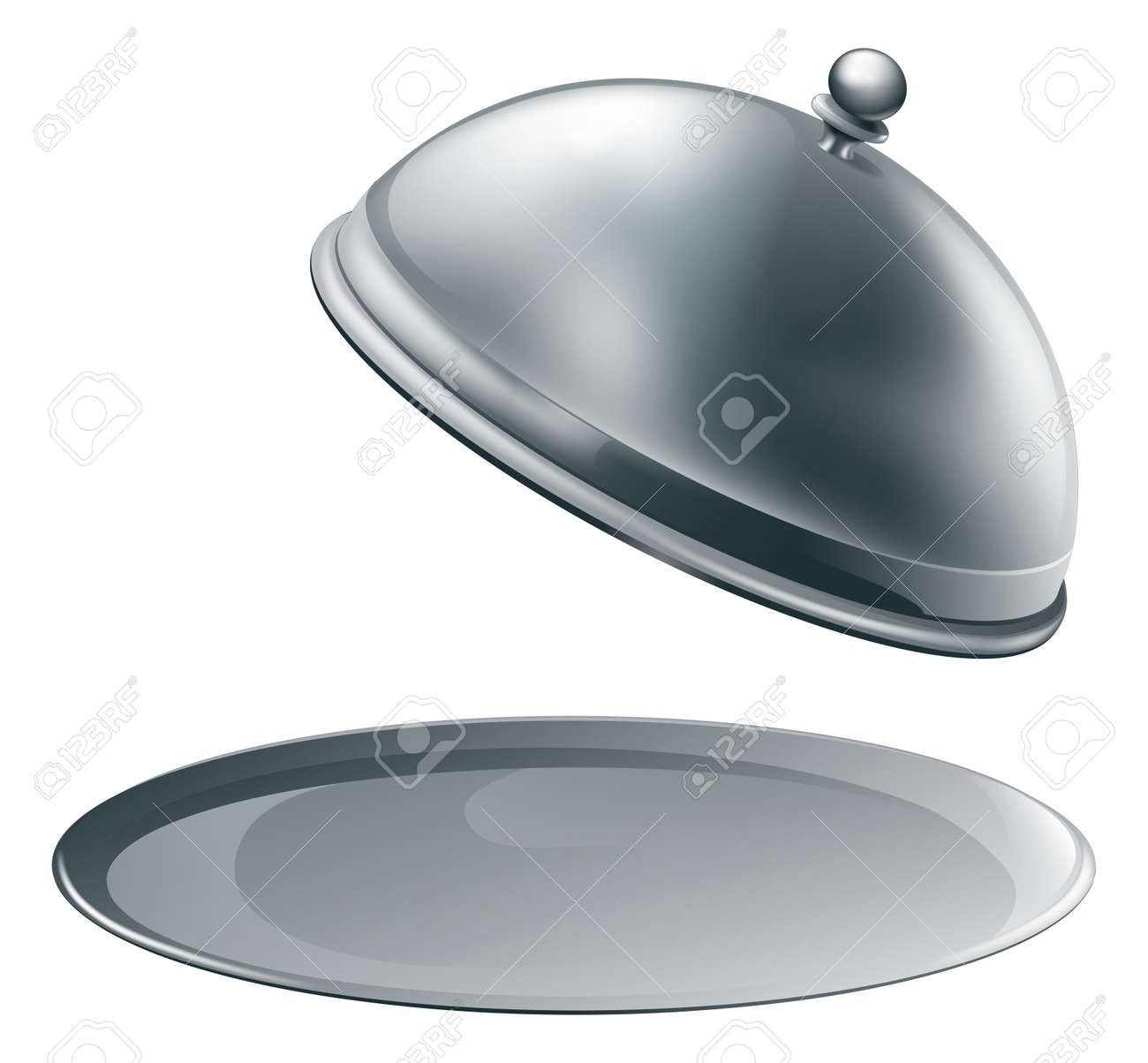 An open empty metal silver platter or cloche with space to place object or text on it Stock Vector - 13271263