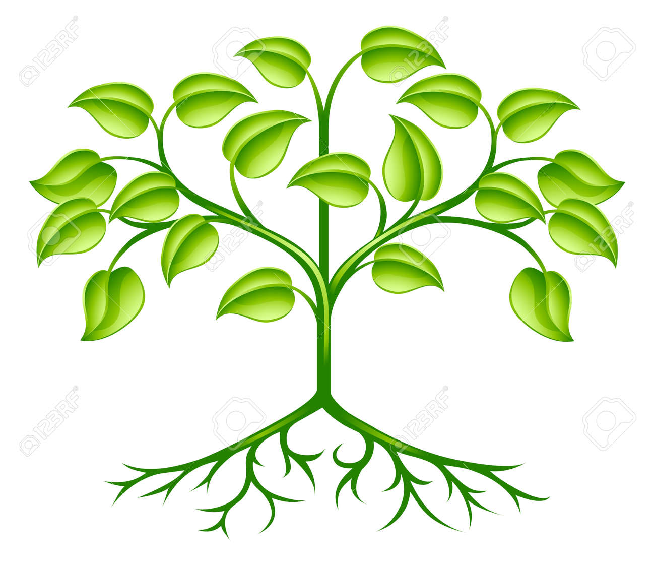 A green stylised tree design element symbolising growth, nature or the environment Stock Vector - 13271266
