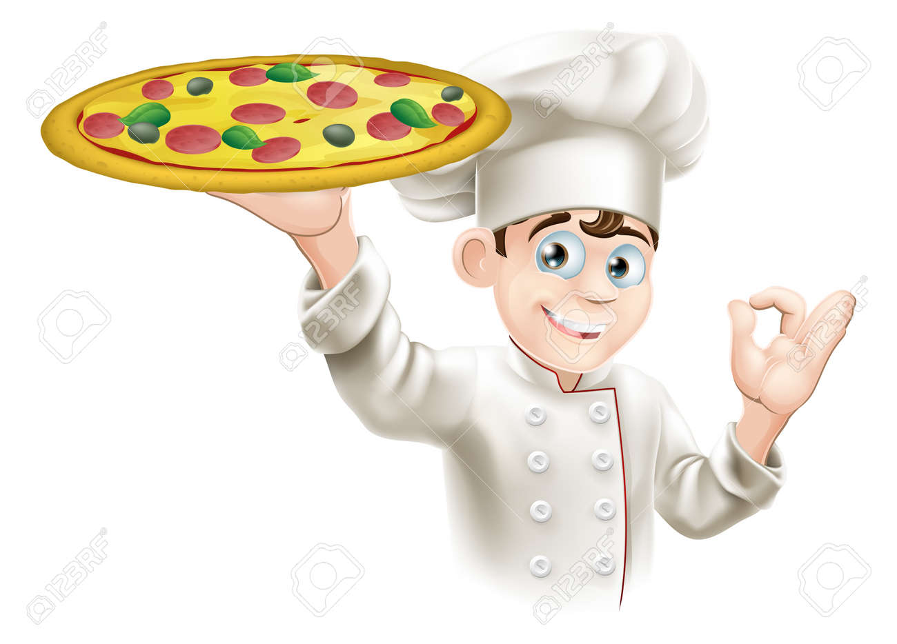 Pizza chef doing an okay sign and holding up a tasty looking pizza - 13403527