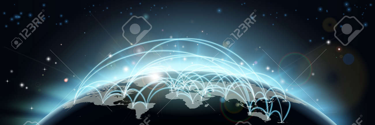 A world map network background with flight paths or trade routes or communication between countries and cities Stock Vector - 13547089