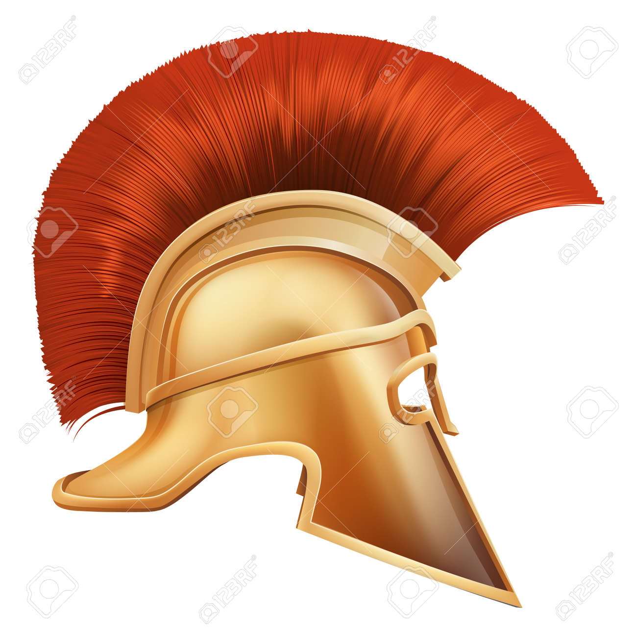 Illustration of side on Spartan helmet or Trojan helmet also called a Corinthian helmet. Versions also used by the Romans. Stock Vector - 13567079