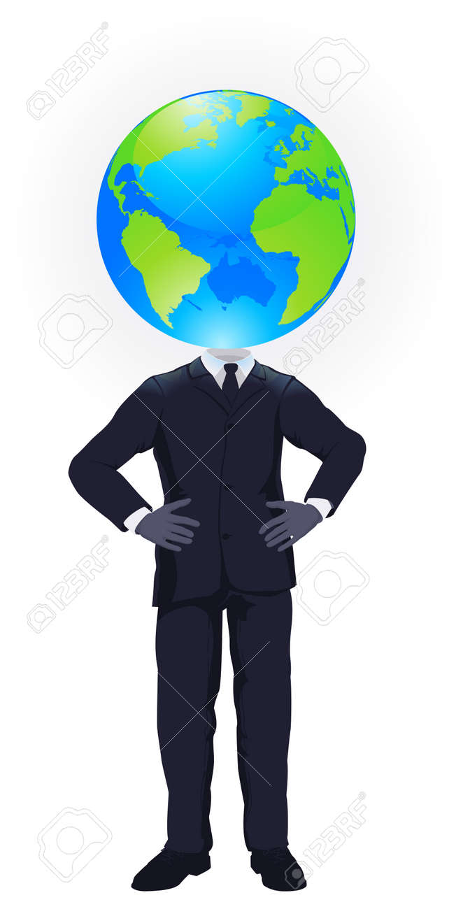 a business man with a globe for a head business concept for