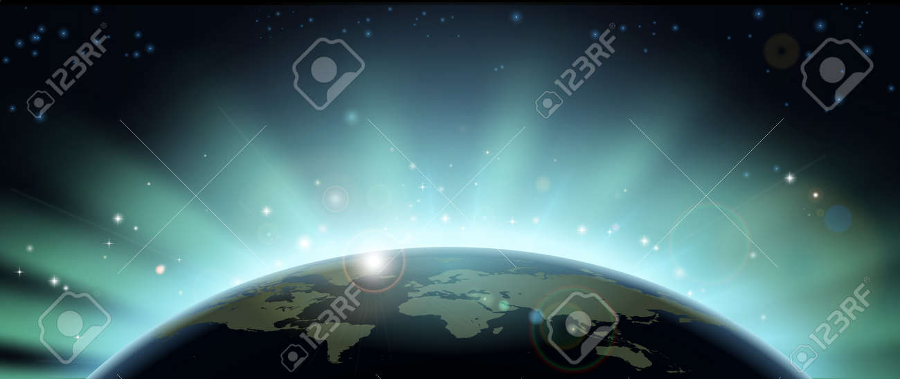 World globe map eclipsing the sun directly behind it. Stock Vector - 14002212