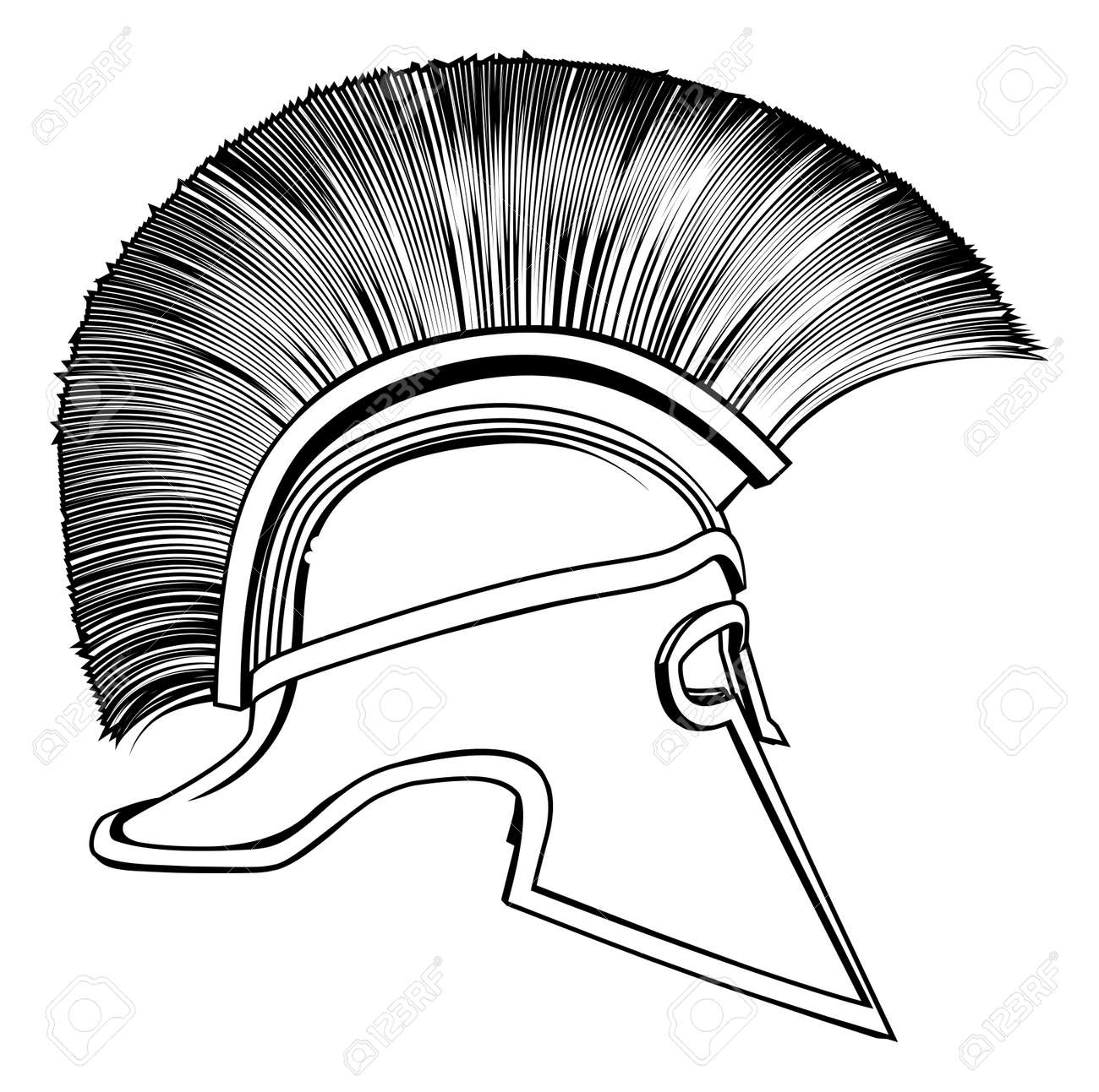 Black and white illustration of a side on ancient Greek Warrior helmet, Spartan helmet, Roman helmet or Trojan helmet. Stock Vector - 14052139
