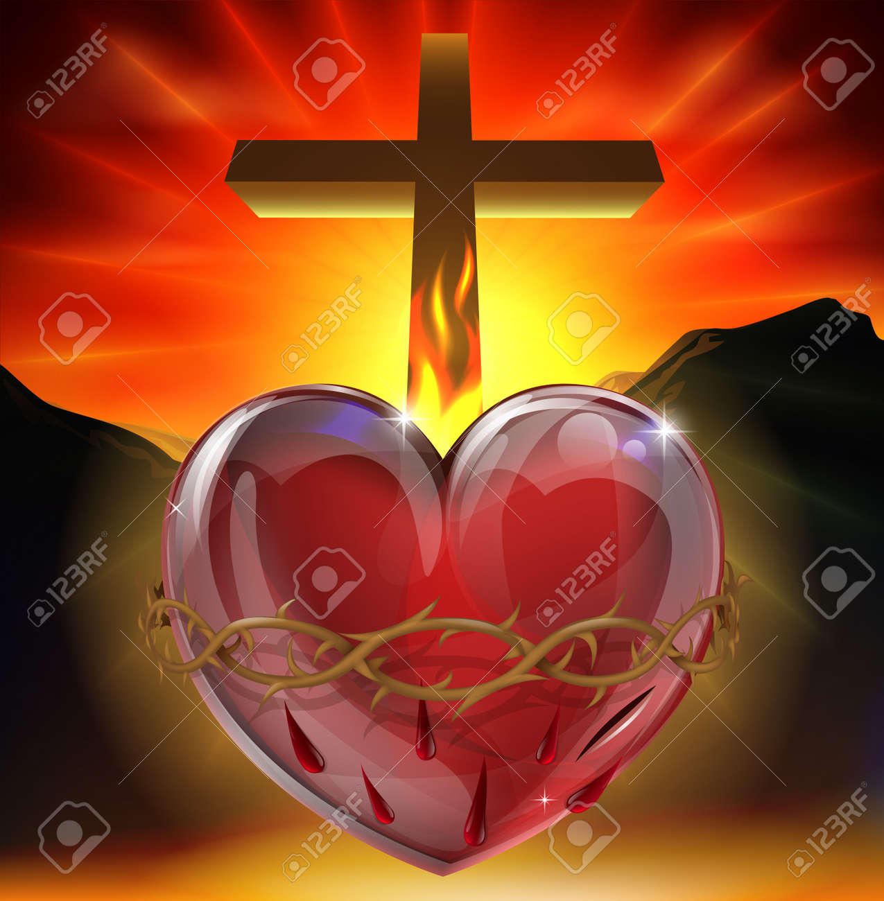 Illustration of the Christian symbol of the sacred heart. A heart shining with divine light with crown of thorns, lance wound and flame representing divine love. - 14052158