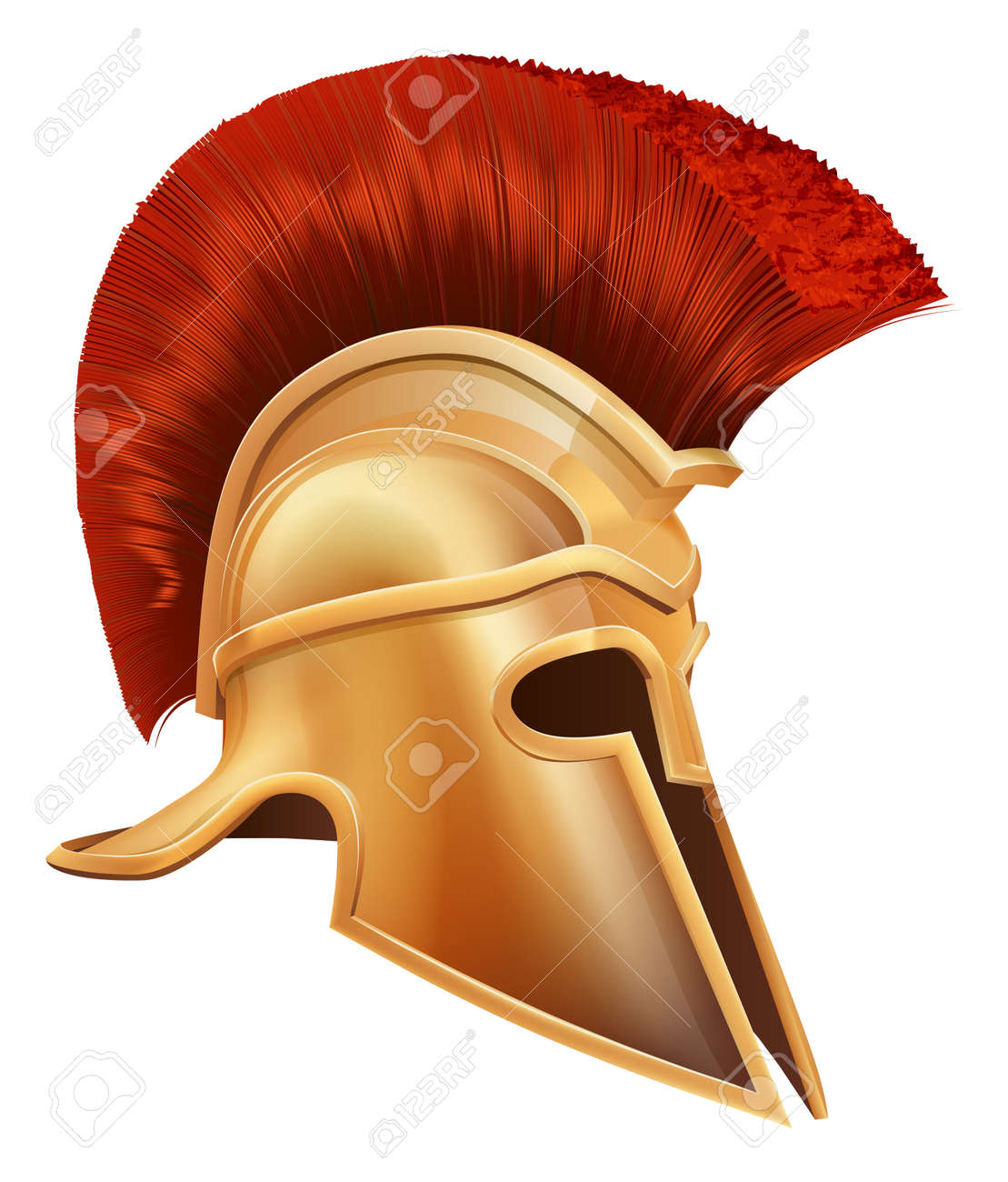 Illustration of an ancient Greek Warrior helmet, Spartan helmet, Roman helmet or Trojan helmet. Stock Vector - 14052145