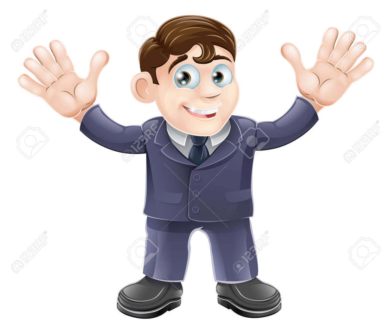 smart worker stock illustrations cliparts and royalty smart worker illustration of a cute businessman in a suit waving both hands and