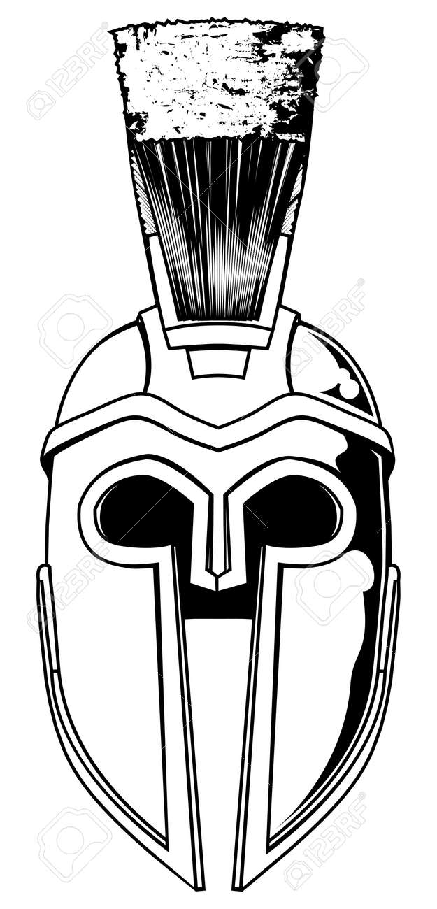 Illustration of front on Spartan helmet or Trojan helmet also called a Corinthian helmet. Versions also used by the Romans. Stock Vector - 14268062