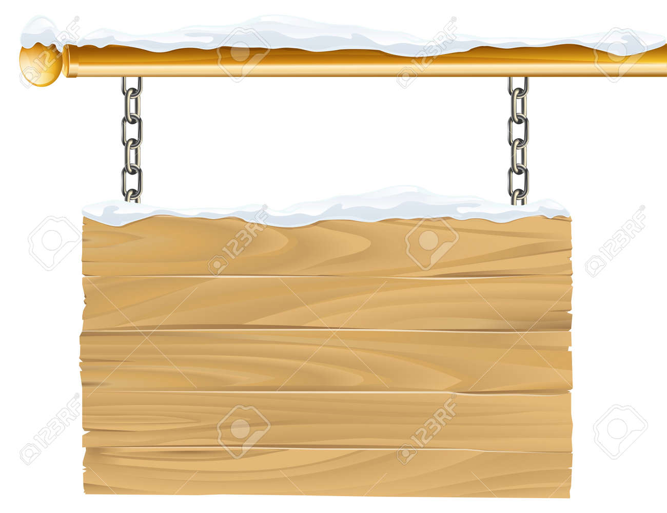 Christmas Chain Clipart.A Wooden Snowy Winter Christmas Sign Hanging Suspended From Chains
