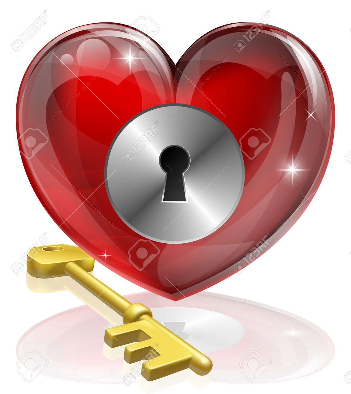 Heart lock and key concept illustration, could be symbol for finding love or repressing feelings or being guarded Stock Vector - 14268069