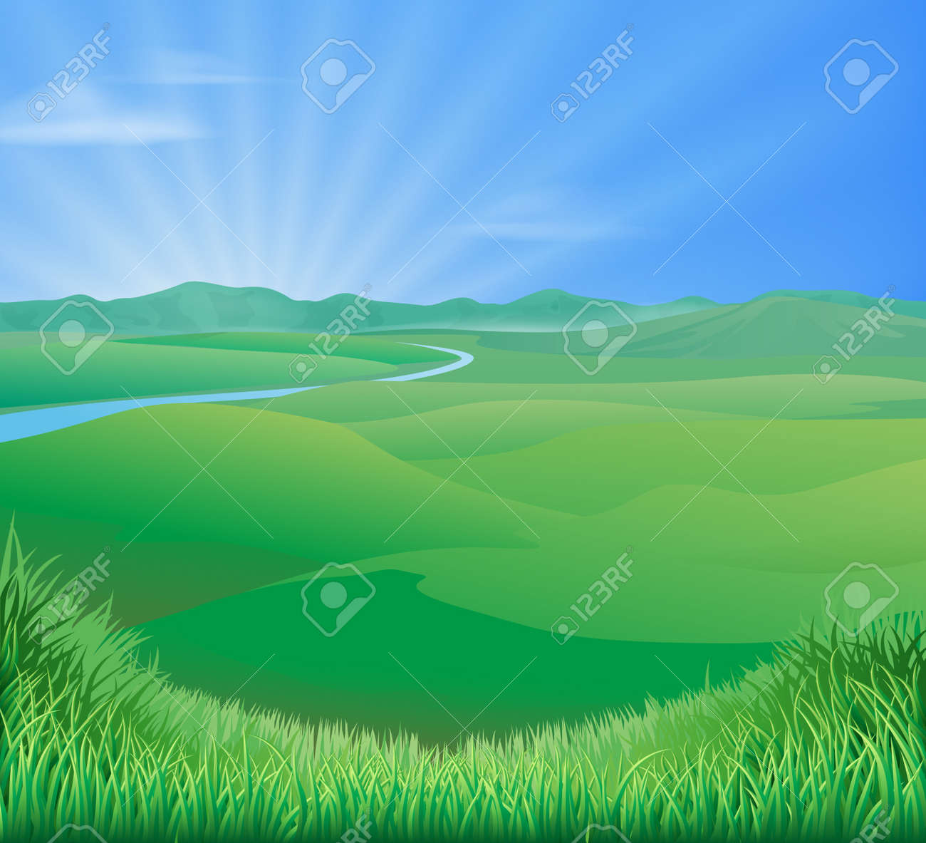 An idyllic rural landscape illustration with rolling green grass hills and a sun rising over mountains - 14366698