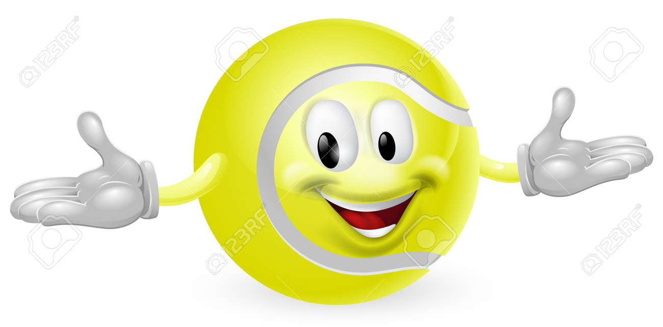 Illustration of a cute happy tennis ball mascot man Stock Vector - 14366696