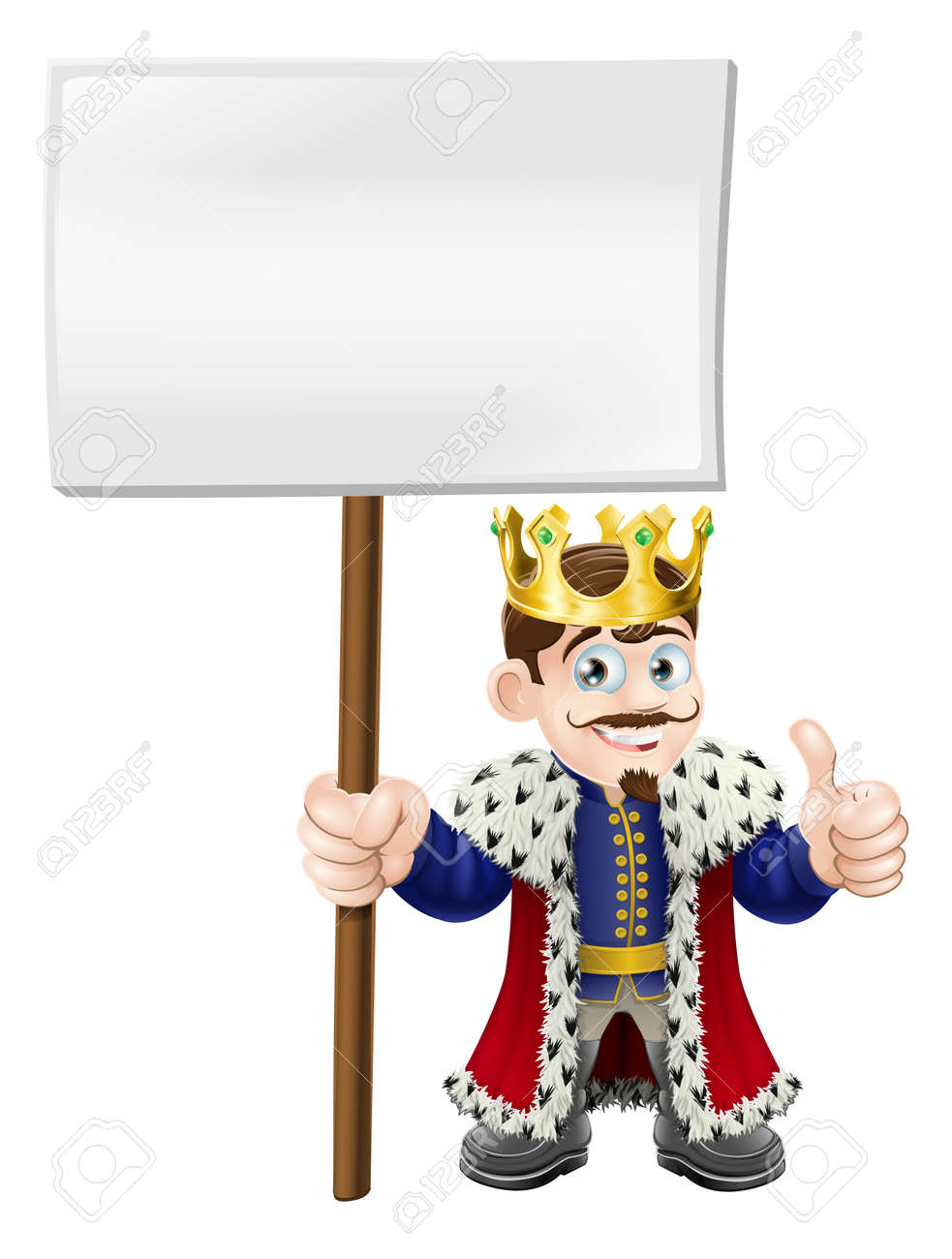 A smiling happy king giving a thumbs up and holding up a sign Stock Vector - 14366701