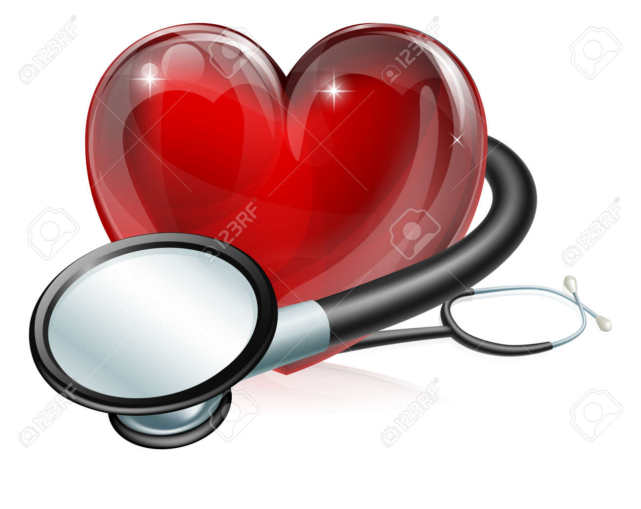 Medical concept illustration of heart shaped symbol and stethoscope - 14366695