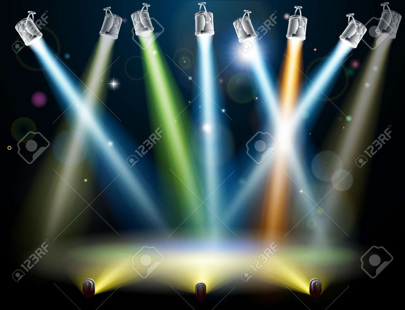 Dramatic multicolored lights like those on a dance floor in a disco or used in a stage light show Stock Vector - 14366715