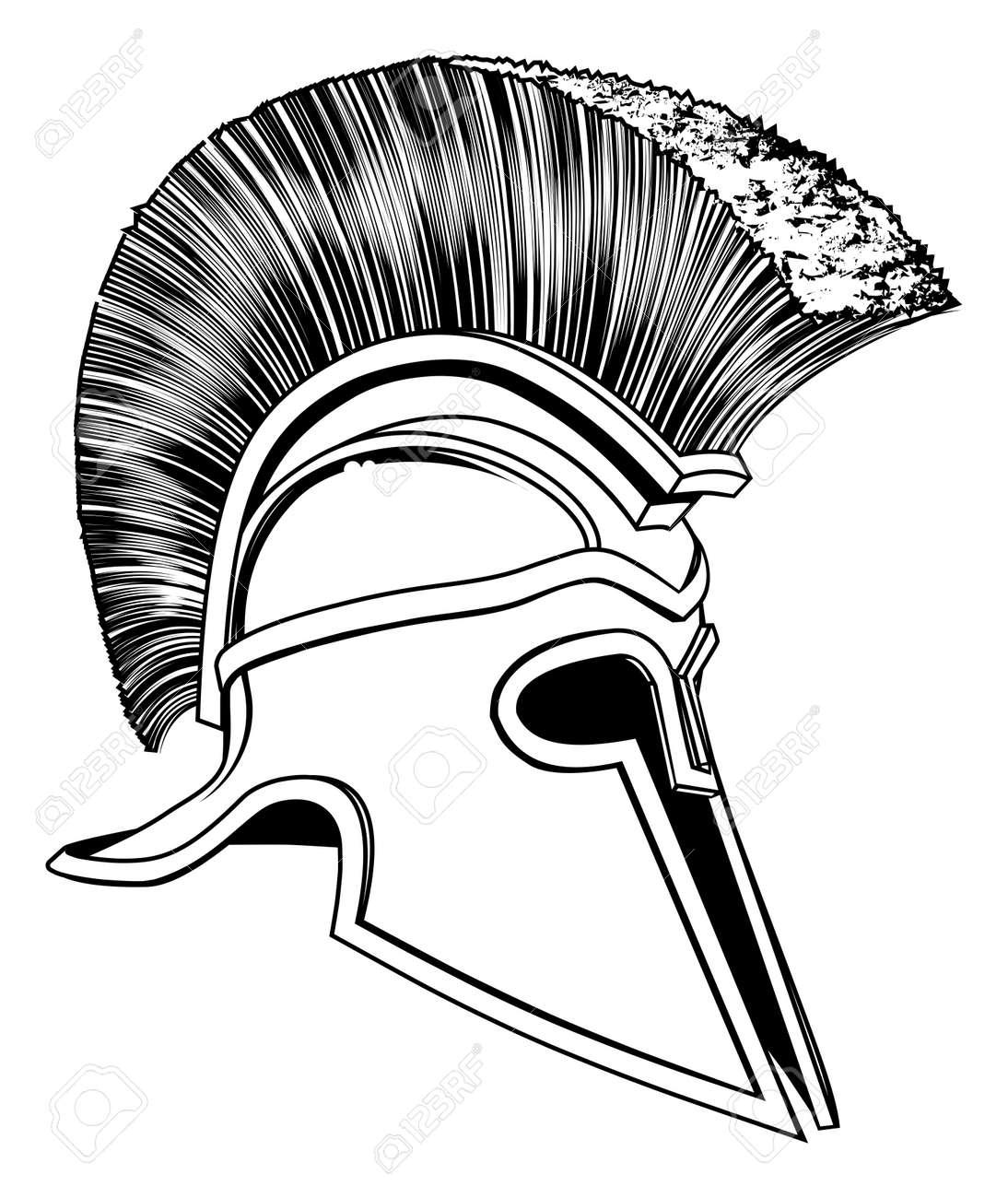 graphic of a bronze trojan helmet spartan helmet roman helmet