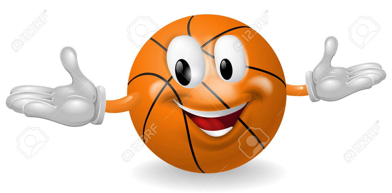 Illustration of a cute happy basketball ball mascot man Stock Vector - 14465990