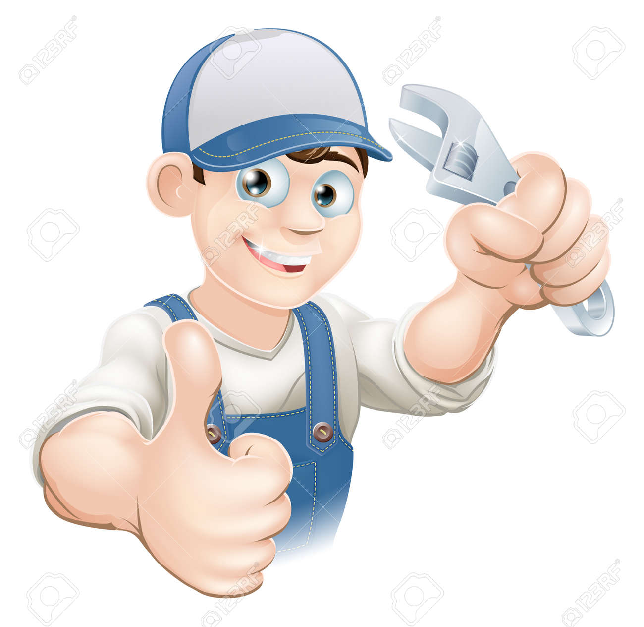 Graphic of a smiling plumber, mechanic or handyman in overalls holding a wrench and giving thumbs up Stock Vector - 14508940