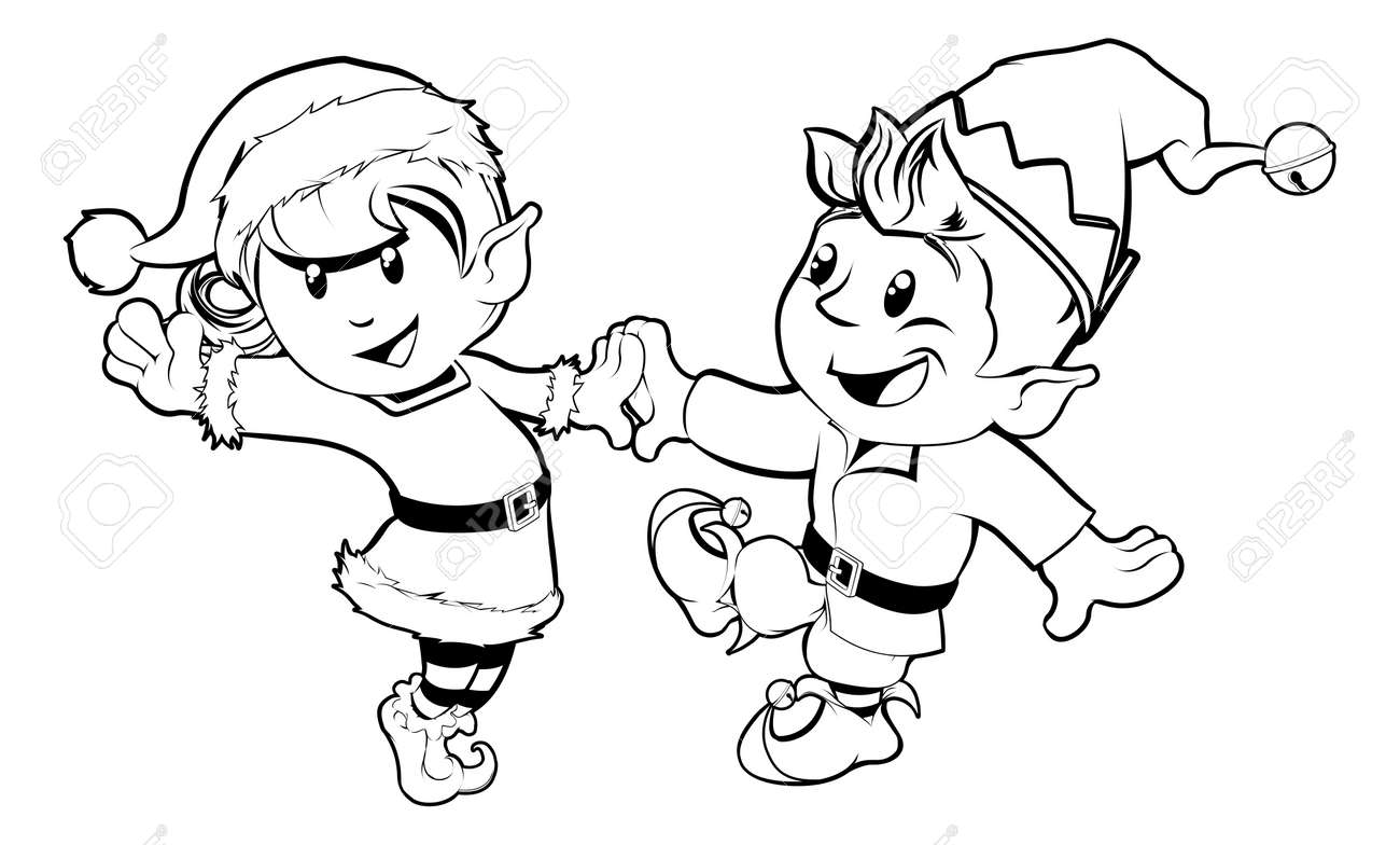 Black and white illustration of boy and girl Christmas elves dancing in Santa outfit and elf clothes Stock Vector - 14508931