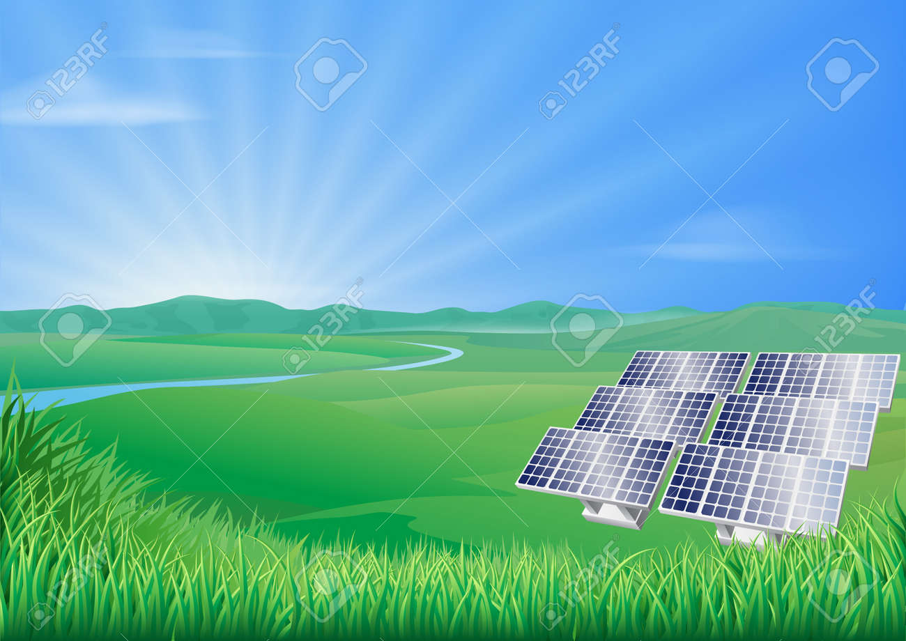 Illustration of solar panels in green landscape for sustainable renewable energy power generation Stock Vector - 14508938