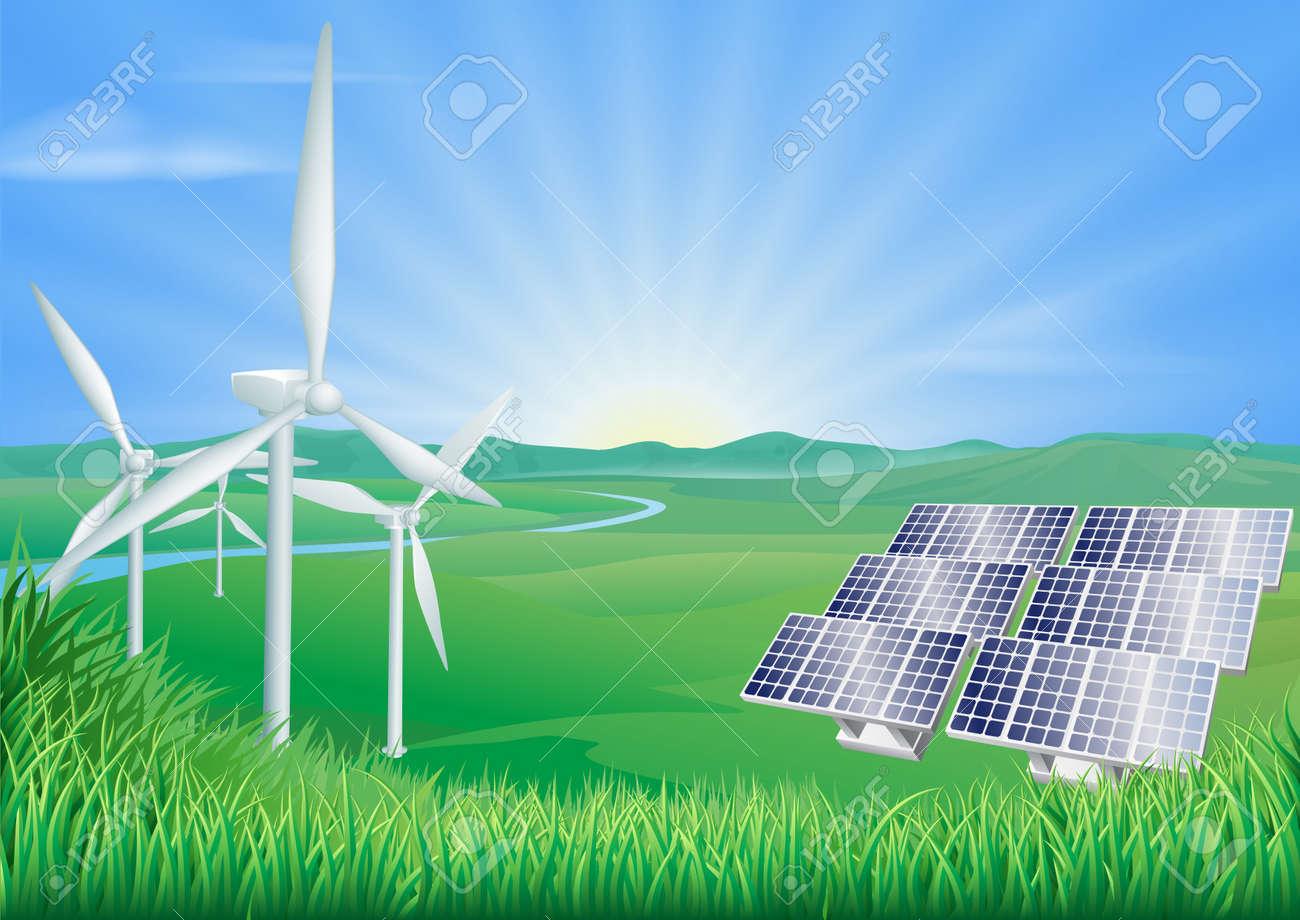 Illustration of wind turbines and solar panels generating renewable energy Stock Vector - 14603641