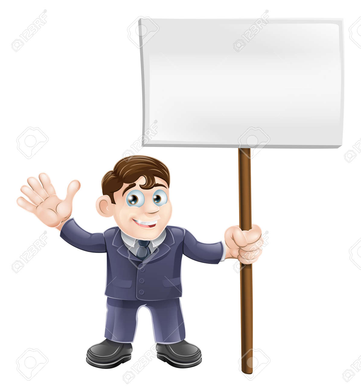 Illustration of a cute businessman holding a sign and waving Stock Vector - 14656073
