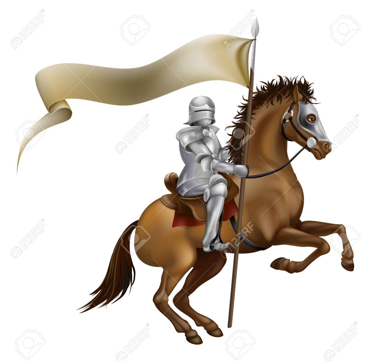 Knight On Horse: A Knight With Spear And Banner Mounted On A Powerful Horse